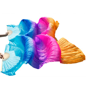 Image 3 - 100% Silk Dance Fans High Quality Chinese Silk Fans 1 Pair Handmade Dyed Silk Belly Dance Fans 23 Colors 120/150/180/230*90 cm