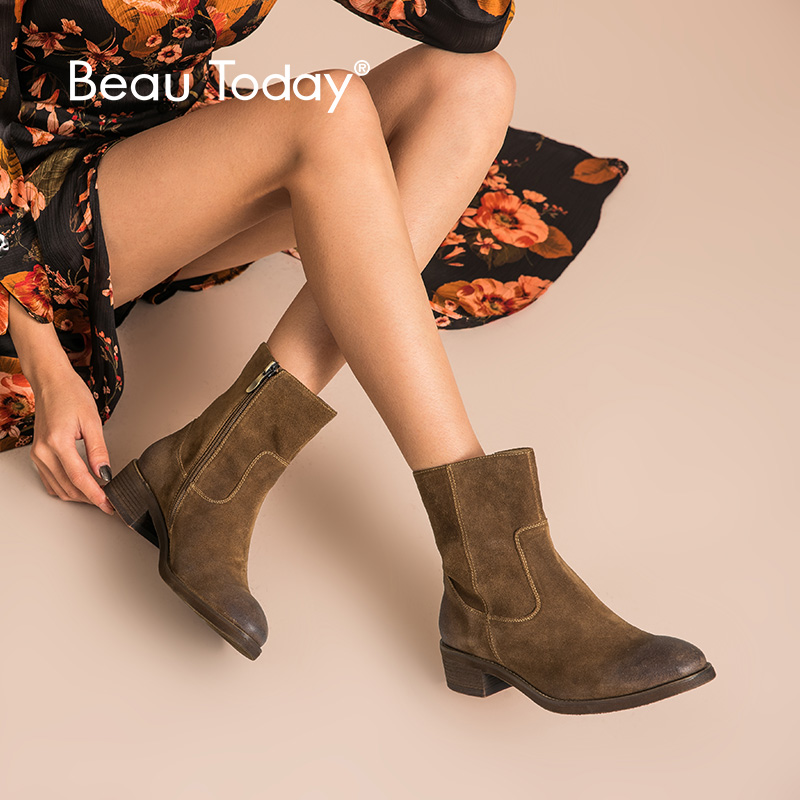 BeauToday รองเท้าผู้หญิงแฟชั่นหนังวัวแท้หนังนิ่มซิปข้อเท้าความยาว Lady รองเท้าคุณภาพสูง Handmade 03245-ใน รองเท้าบูทหุ้มข้อ จาก รองเท้า บน   1