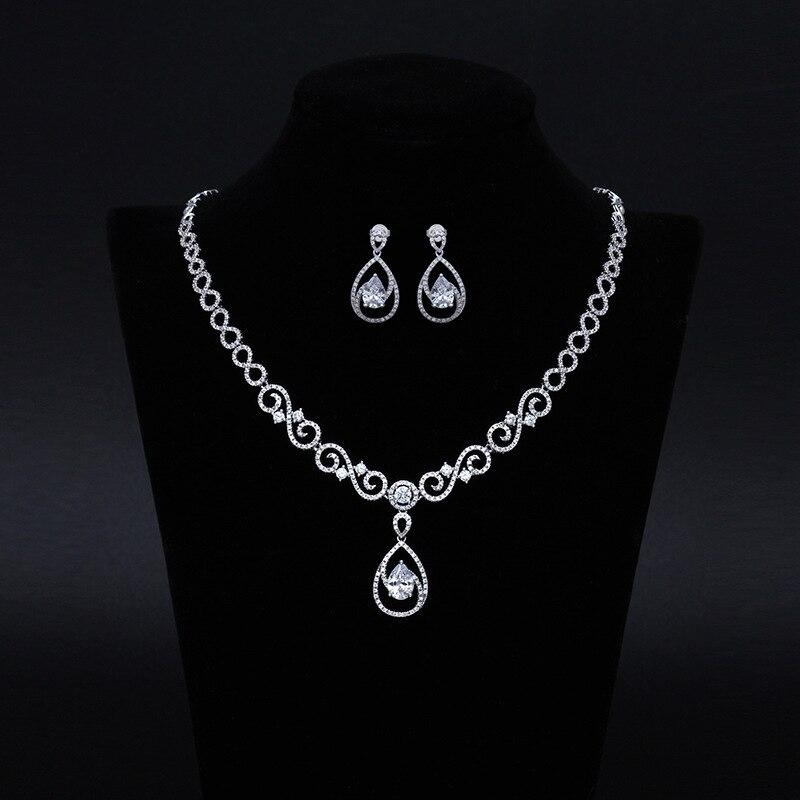 Dower me Sparkling Wedding Cubic Zirconia Necklace Set Bridal CZ Jewelry set Bridesmaids Women Jewelry Accessories