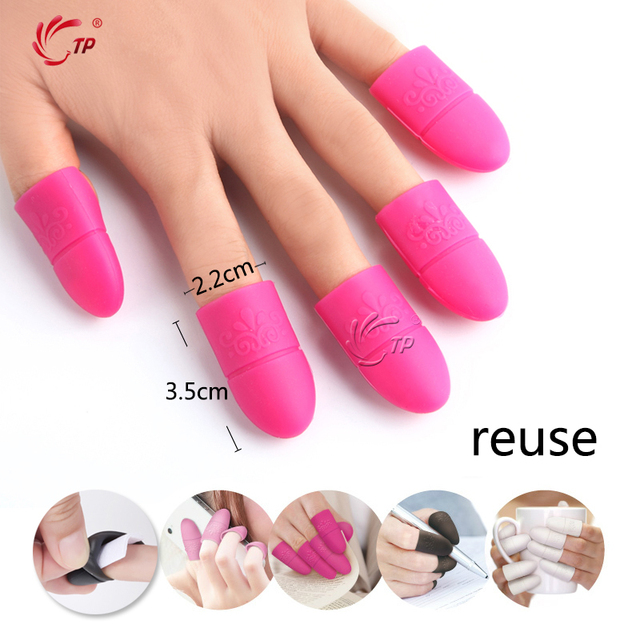 Tp 10pcs Pack Silicone Nail Art Soak Off Cap Clip Uv Gel Polish