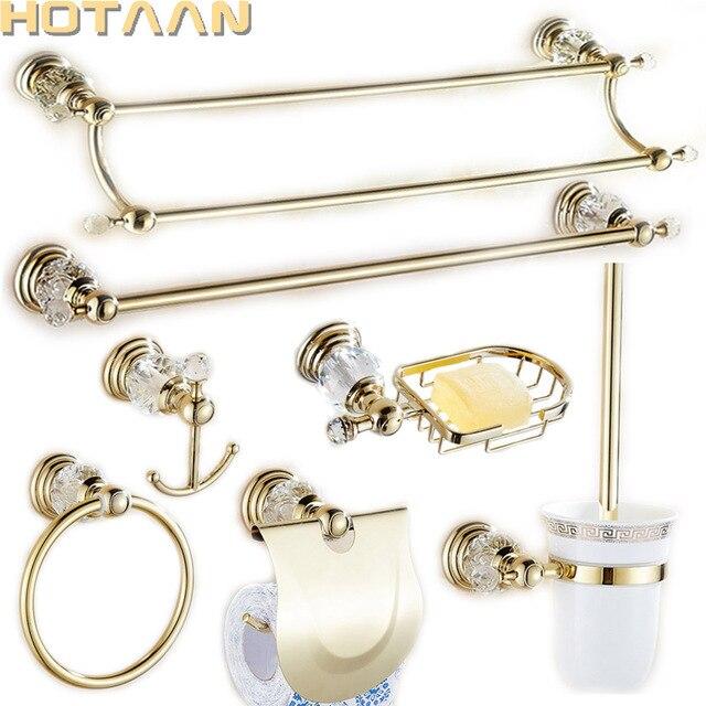 Luxus Kristall Silber Badezimmer Zubehor Set Gold Poliert Messing