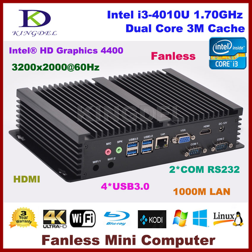 Windows 10 cheap fanless mini industrial pc with 4GB RAM mSATA SSD Intel i3 4010u CPU