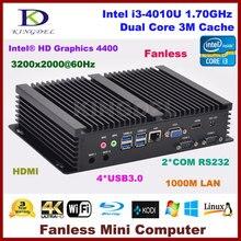 Windows 10 Дешевые Безвентиляторный Mini промышленного ПК с 4 ГБ ОЗУ mSATA SSD Intel i3 4010u ЦП 2 com-порта Мини рабочего Gigabit LAN