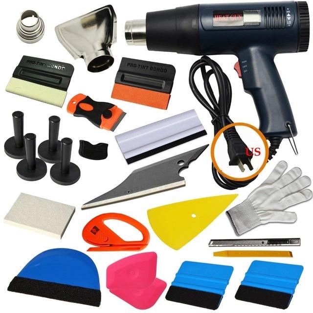EHDIS pistolet électrique à Air thermique   Kit doutils de teinte de fenêtre, Auto pistolet chaud, housse de voiture, couteau à découper, feuille de carbone, accessoires dautocollants