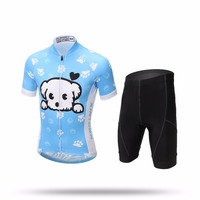 Summer Cute Puppy Cycling Jersey Sets For Boys Girls Blue Mountain MTB Bike Bicycle Short Sleeve