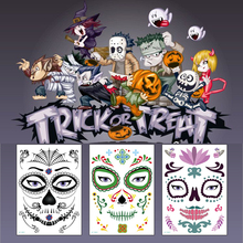 Suger Skull tattoo Halloween Lace Beauty Tattoo Waterproof Temporary Tattoos Stickers party Mexican New Day of The Dead Skull