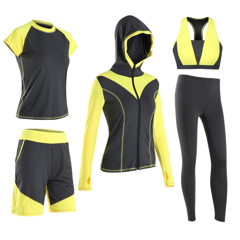 Hot 5 in 1 Set Women Fitness Yoga Set Sport Bra & T-shirts & Jacket & Pants & Shorts Gym Clothes Sport Wear Running Outdoor Jog women yoga suit outfit fitness clothes running outdoor jogging clothing gym sport 5 pcs set bra t shirt jacket short pant
