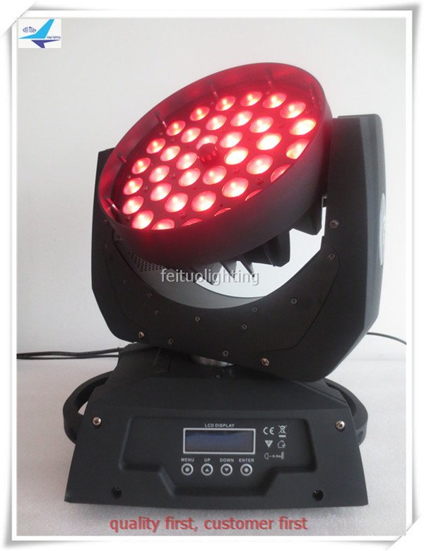 T-8lights+flight case flicker free 36x10w rgbw 4 in 1 zoom Dmx Ktv Disco Moving Head Led Wash stuido light