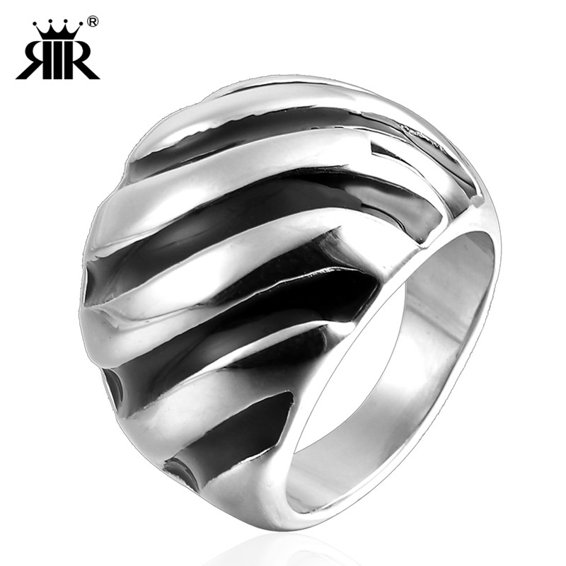 RIR Fashion Simple Silver Rings Stainless Steel Zebra Pattern Black With  White Colors For Women   Men Ring Jewelry Size 6 - 9 963f87b75a26