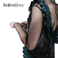 [TWOTWINSTYLE] 2017 Spring Korean See Through Mesh Sex T shirt Women Base Tops Long Sleeves New Fashion Clothing