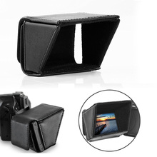 Universal Detachable 3 5 LCD Screen Flip out Shade Black PU Sun Shield Hood for DSLR