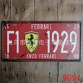 15x30 cm  vintage license plates ENZO F1 1929 BRAND CAR  retro iron painting wall sticker number plate metal craft Decor