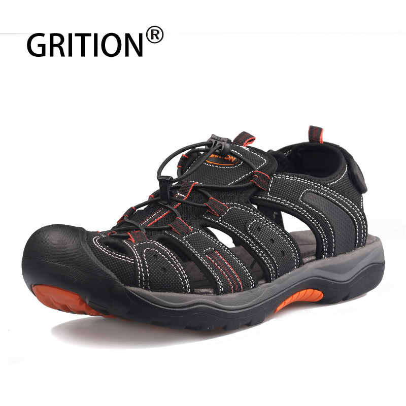 GRITION Men Platform Sandals Close Toe Leather Flat Summer Shoes Beach Outdoor Comfort Casual Walking Male Shoes Big Size 2019