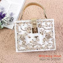 Perfect# fashion high-quality Yanbao pearlescent hand carved hollow Bridesmaid party bag FREE SHIPPING