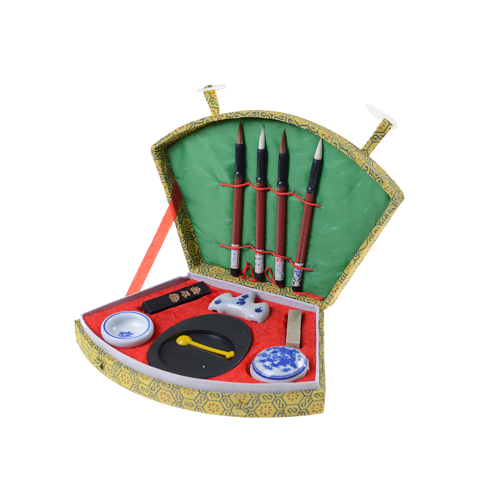 2018 Chinese Calligraphy Set with Writing Pen Brushes Ink Inkstone Stamp Tool Box Set Painting Brushes Set Artist Student Gifts chinese zhaoqing song keng inkstone horse pattern inkstone calligraphy painting tool 12838