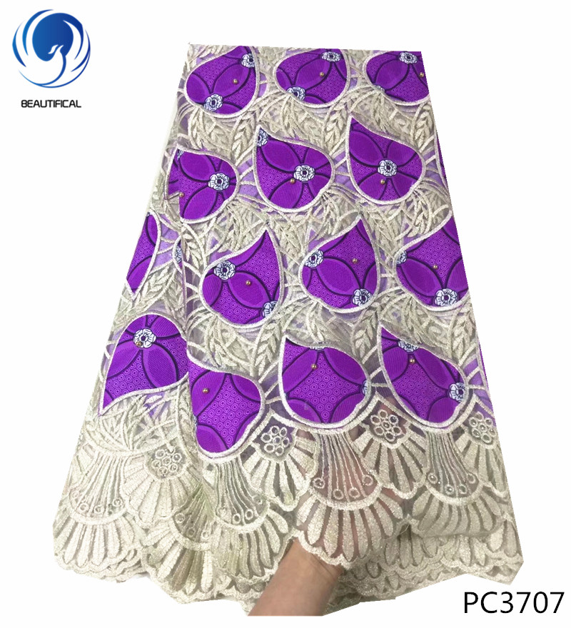 BEAUTIFICAL Purple african wax with tulle lace fabric with beads Hot sale nigerian wax lace fabric for wedding 6yards lot PC37 in Lace from Home Garden