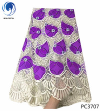 BEAUTIFICAL Purple african wax with tulle lace fabric beads Hot sale nigerian for wedding 6yards/lot PC37