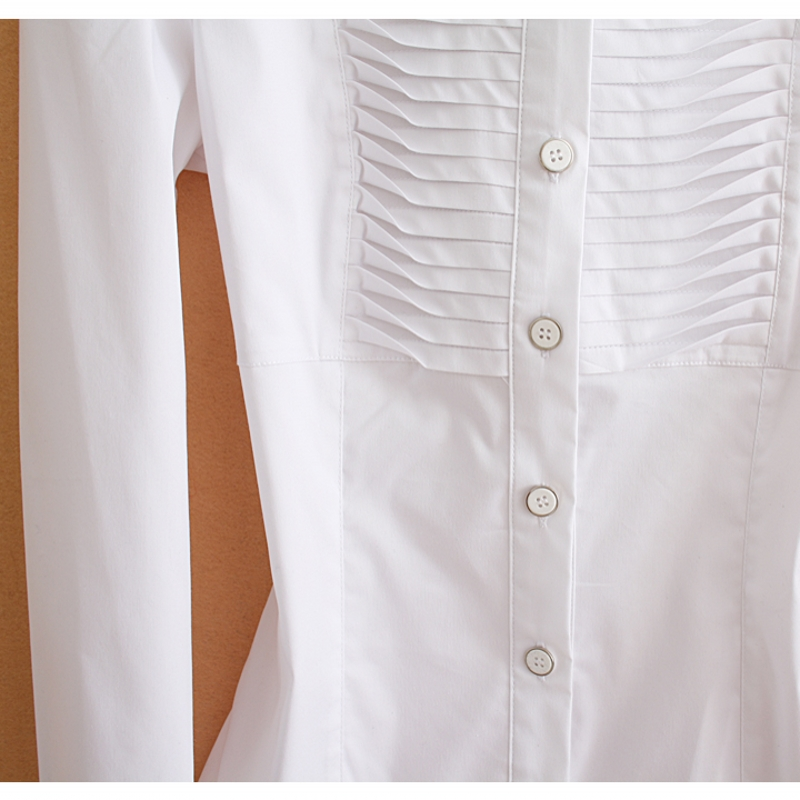 Blusa Blusas Shirt 2018 Manga Negro Camisas Mujer Otoño Larga Ropa De Plus Oficina Size Plisado blanco Trabajo Body púrpura Elegante Tops Stand Collar wYrY6Ex