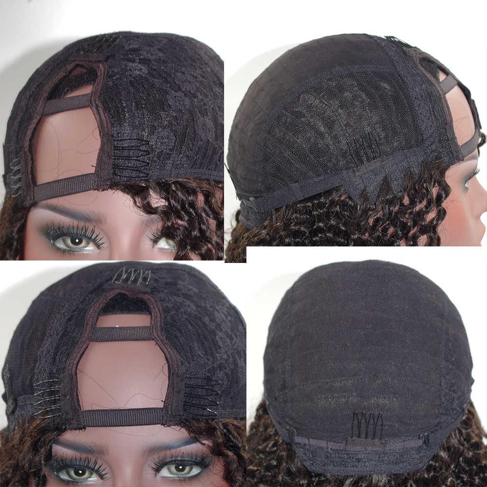 SimBeauty medio 100% abierto cabello humano Afro rizado U pelucas para mujeres negras 100% peluca rizada peruano sin procesar cabello Remy