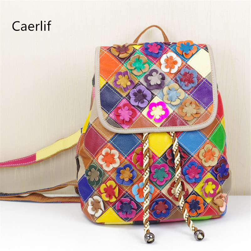 ФОТО Caerlif  personality backpacks women travel women backpack school bags for teenagers mochila Stitching flowers  leather backpack