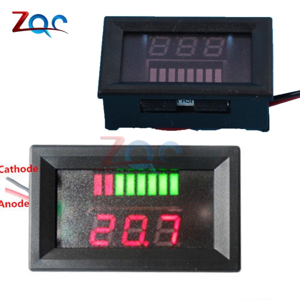 6V/12V/36V/48V Red LED Lead-acid Battery Indicator Battery Capacity Acid Tester Voltmeter Charge Level Indicator For Arduino battery capacity tester with lcd indicator for 12v 24v 30v lead acid lithium lipo