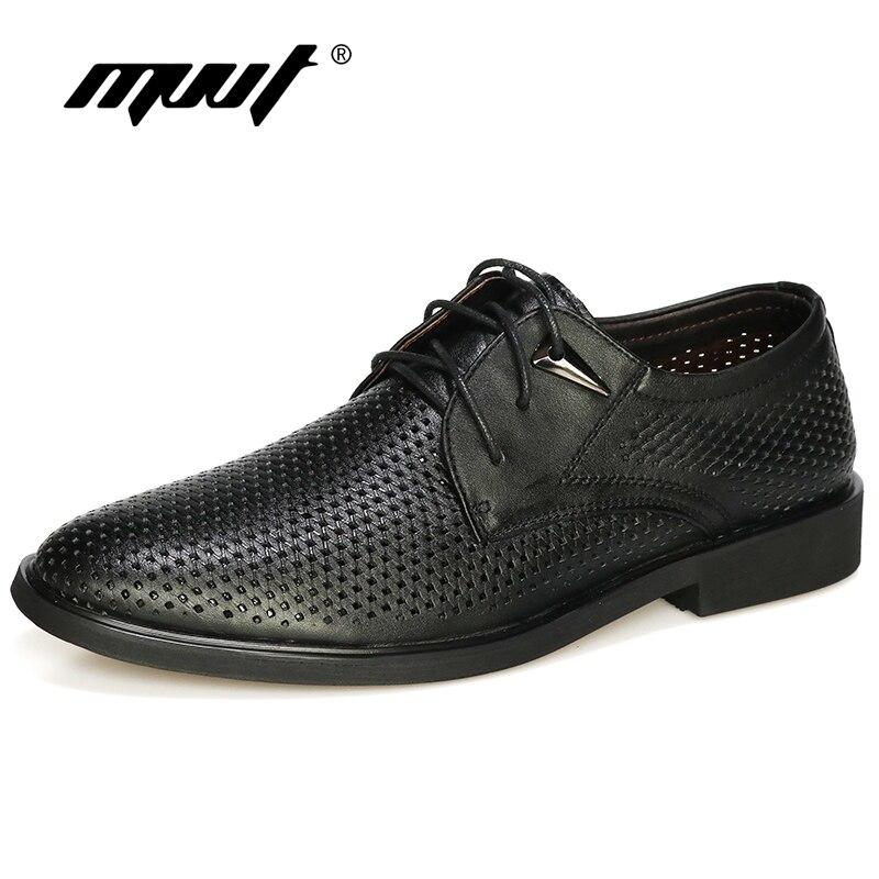 Плюс размер 38–47 Пояса из натуральной кожи Обувь Для мужчин Оксфорд дышащие открытые Туфли под платье Мужская обувь в деловом стиле летние О...