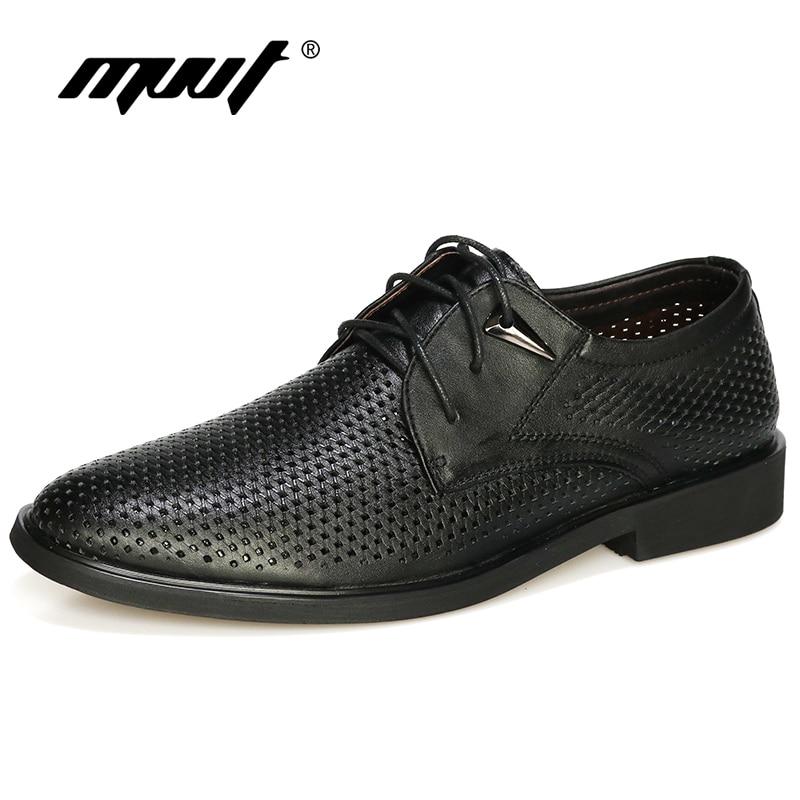 Plus la taille 38-47 En Cuir Véritable Chaussures Hommes Oxford Respirant Creux-out Robe Chaussures D'affaires Hommes Chaussures D'été formelle Chaussures