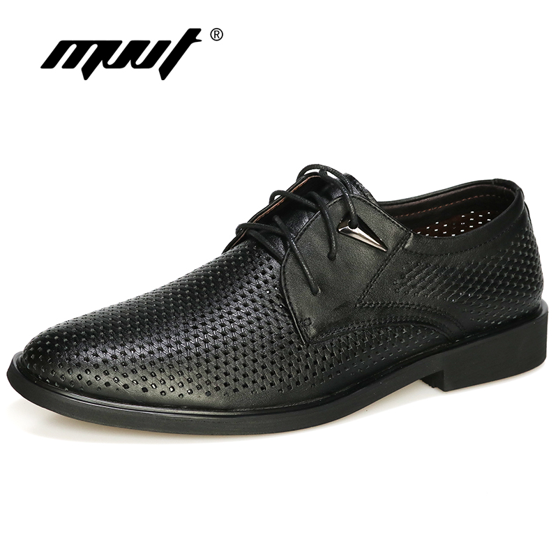 Plus size 38-47 Genuine Leather Shoes Men Oxford Breathable Hollow-out Dress Shoes Business Men Shoes Summer Formal Shoes
