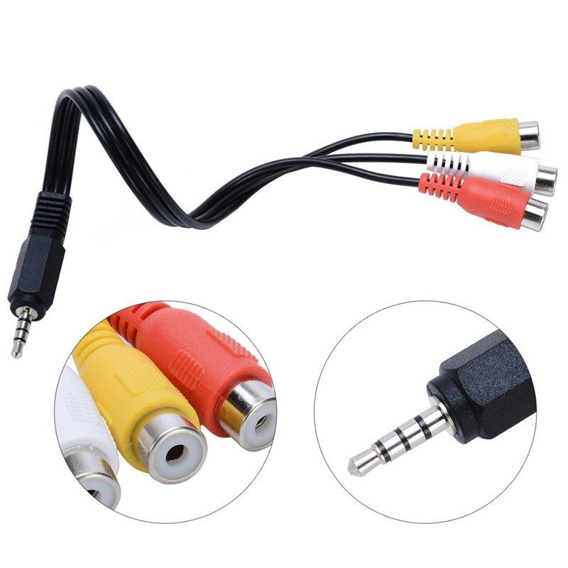 1 Uds 3,5mm Mini Aux macho estéreo a 3 RCA hembra Audio Video AV Cable adaptador para reproducción de vídeo y Audio de alto rendimiento