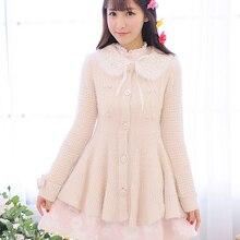 Принцесса сладкий Лолита пальто цветок UncleLong перо пряжа вязаный кардиган прекрасный высокий талия платье шерстяное пальто UF81