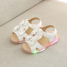Размер 21-30 Мода детские светящиеся сандалии детские босоножки для девочек светодиодный светящиеся сандалии обувь