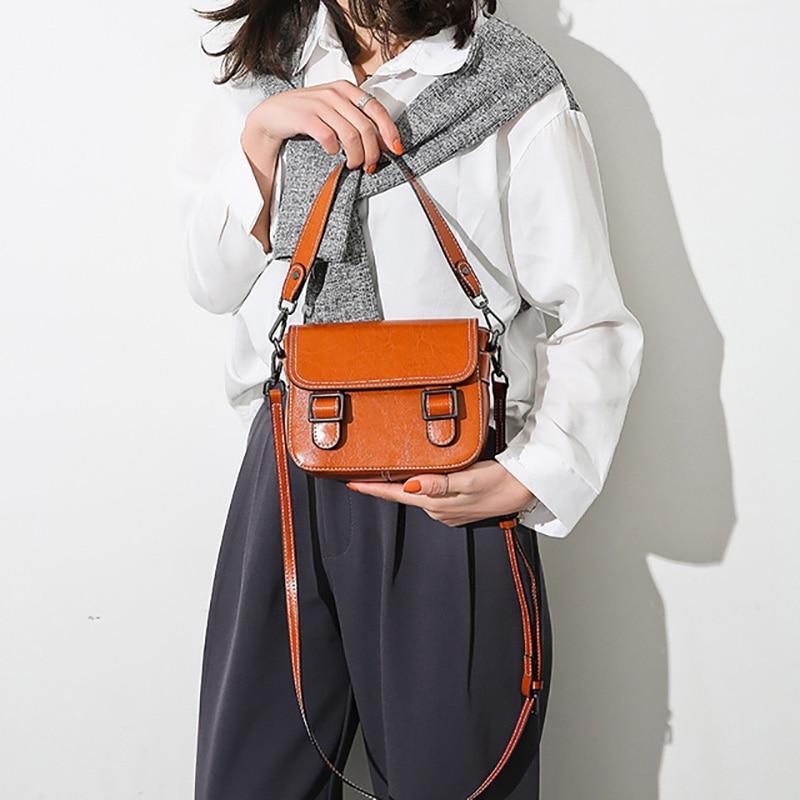 2019 NEW Clutch Women Handbag Wax Genuine Leather Cowhide Brand Handbags Small Square Bag Ladies Shoulder Messenger Bags B