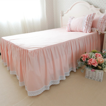 Free shipping 100%cotton Korean luxury pink with bed surface one-piece lace bed skirt bedspread 40-45cm покрывало bed apron