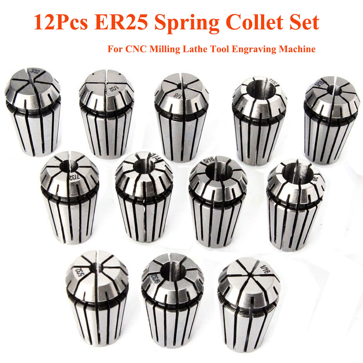 12pcs ER25 Chuck Collet 1/8 to 5/8 Inch Spring Collet Set Machine Tool Holder ER25 Collet for CNC Milling Lathe Tool детский 357337 novotech