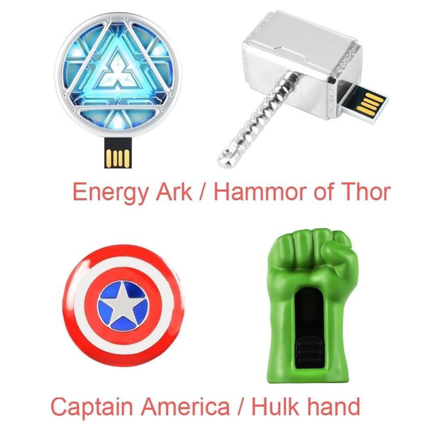 Avengers Captain America Iron Man Hulk Thor 32GB 64GB Disk Pen Drive USB Flash Drive 128GB Memory Stick Pendrive 512GB 1TB 2TB