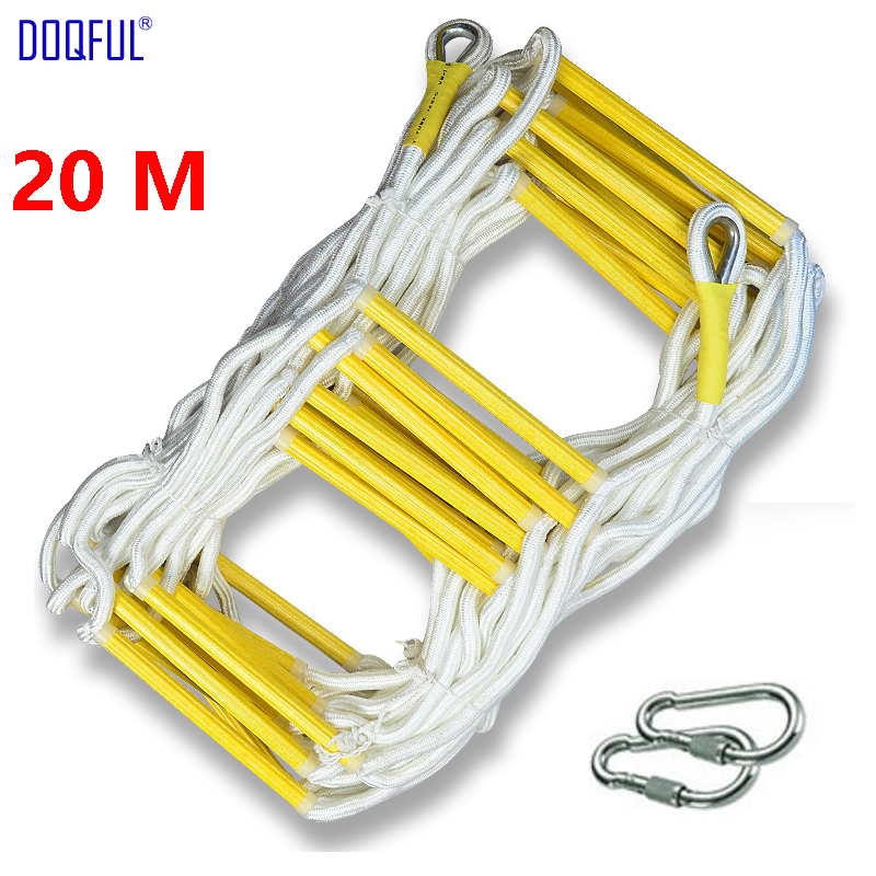 20M Rescue Rope Ladder 66FT Escape Ladder Emergency Work Safety Response Fire Rescue Rock Climbing High Building Escape Tree