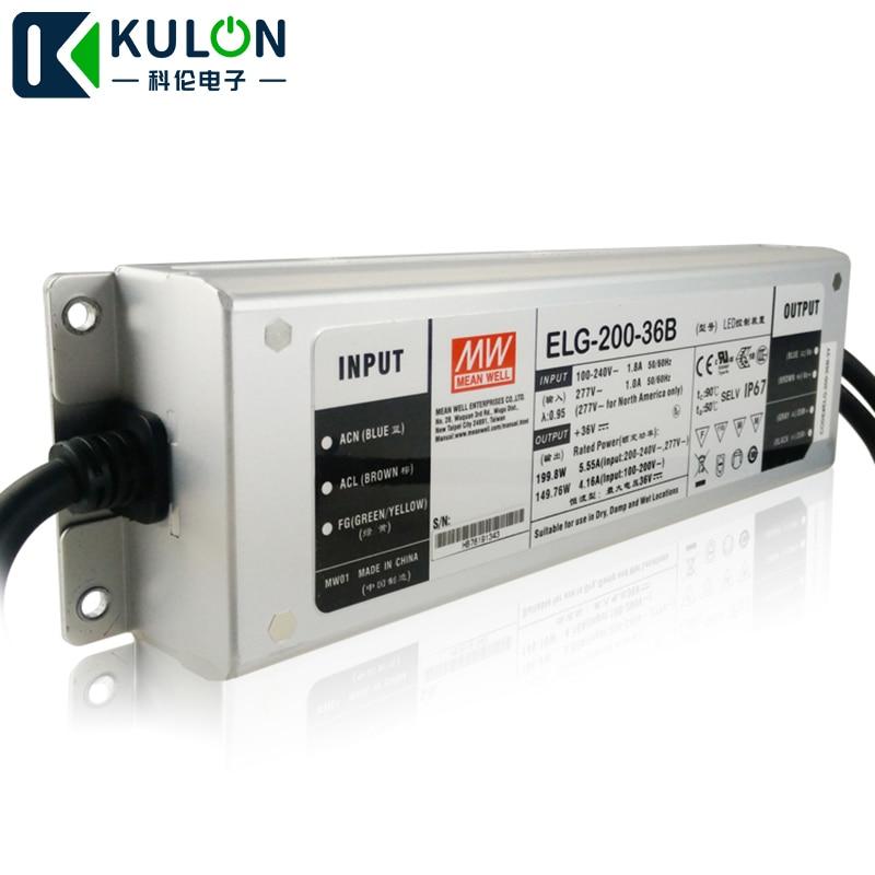D'origine L'alimentation d'énergie MOYENNE ELG-200-36B 200 W 36 V 5.55A IP67 Meanwell drivers gradateurs de LED ELG-200 type B