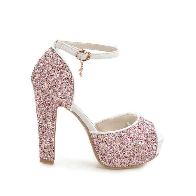 95f98a9283 ESVEVA 2018 Women Sandals Sequins PU Bling Square High Heels Summer Buckle  Strap Peep Toe Platform