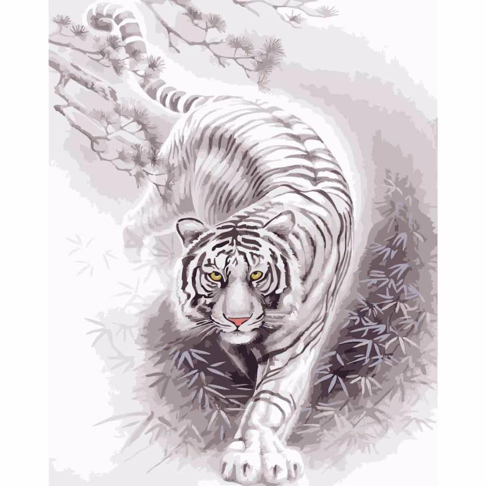 40 50 Cm Gambar Berbingkai Lukisan Harimau Dengan Angka