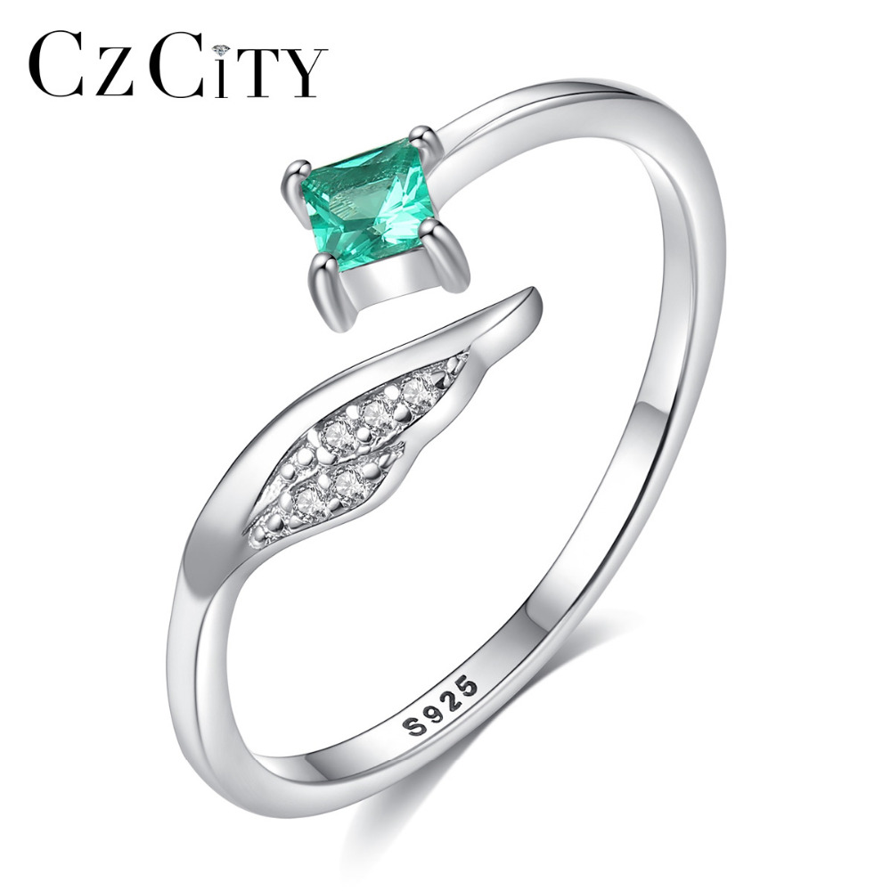 CZCITY Pure 925 Sterling Silver Finger Open Rings for Women Square Emerald Gemstone Fine Jewelry Anniversary Gift Aneis Feminino