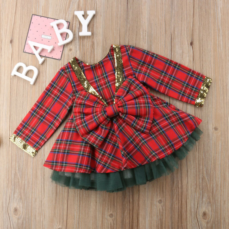 Cute Baby Girls Christmas Suit Clothes Ball Gown Long Sleeve Red Plaid Bowknot Top Christmas Tree Tutu Dress 2pcs Set in Dresses from Mother Kids