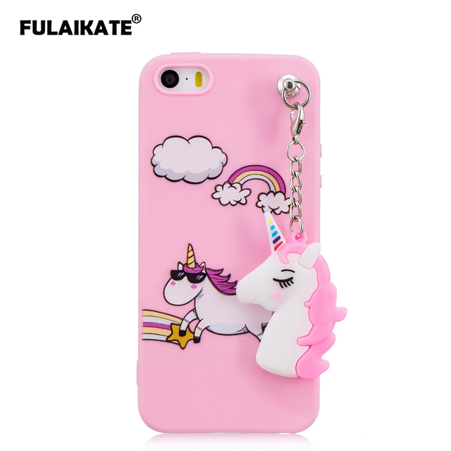 detailed look c409c 73716 US $3.84 23% OFF|FULAIKATE Case for iPhone 5s Silicone Unicorn Pendant Soft  Back Cover for iPhone SE Candy Color Protective Cases for iPhone 5-in ...