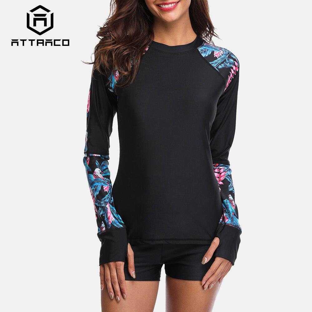 Attraco Women Long Sleeve Rashguard Swimwear Floral Print Swimsuit Running Biking Shirt Surfing Top Rash Guard UPF50+
