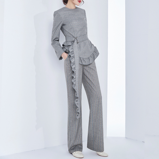 Ensemble Ternos Femininos  Fashion Suit Female Personality Lotus Leaf Waist Coat + High Waist Wide Leg Pants Two Sets Pantalon