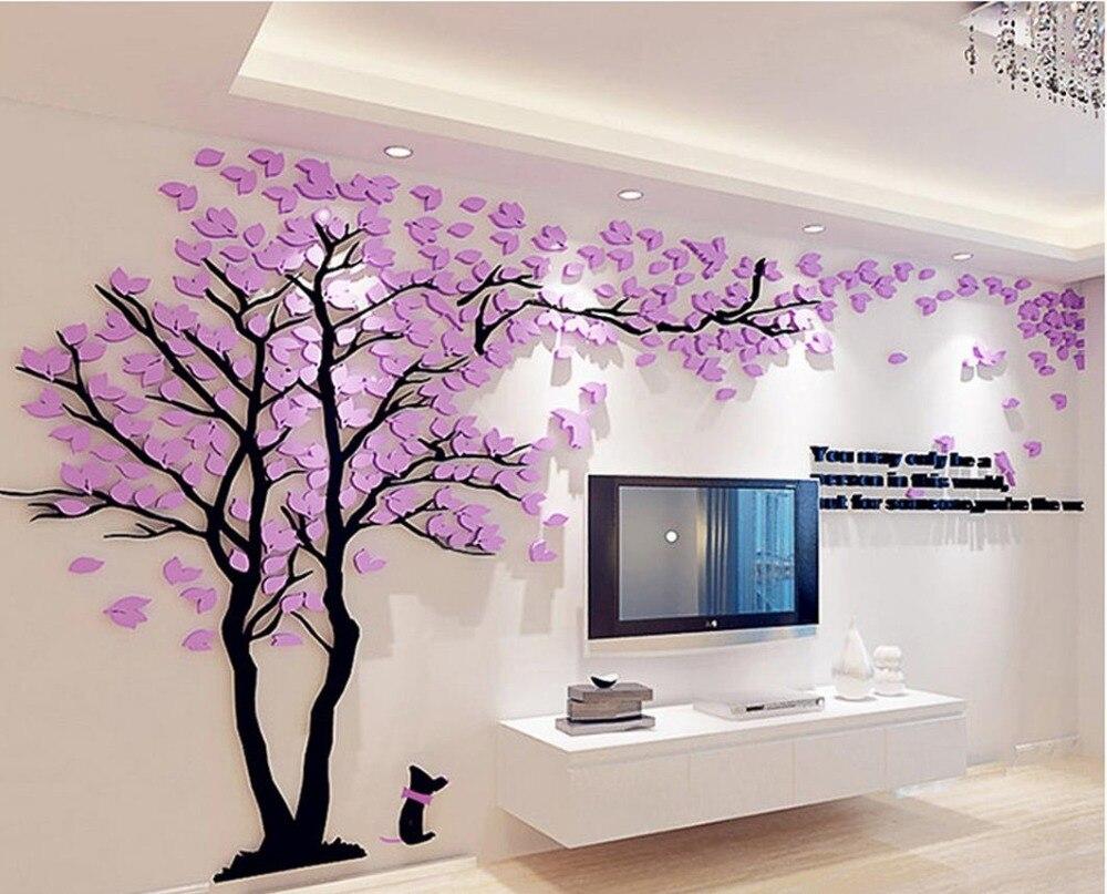 Creative 3 d tree acrylic wall stickers sitting room sofa for Sofa para sala de tv