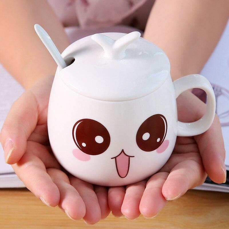 320 мл креативная керамическая кружка молочная чашка кофейная кружка креативная Милая чашка с крышкой керамическая ложка большая емкость