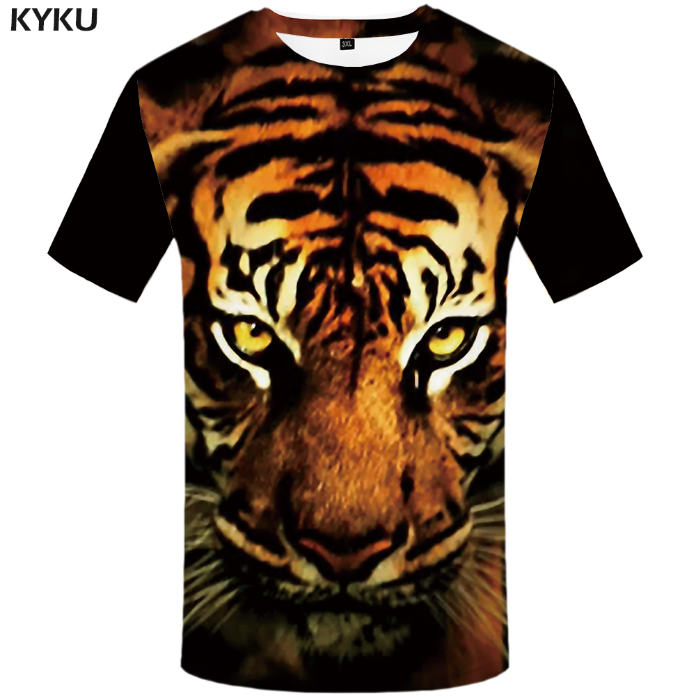 KYKU Tiger   T     shirt   Animal   T  -  shirt   Tshirt Clothing Clothes Plus Size Men Funny Male Fashion O-Neck
