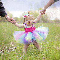 Colorful Girl Birthday Tutu Dress Rainbow Pastel Removable Easter Holiday Party Baby Toddler Girls Special Occasion