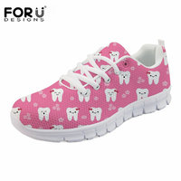FORUDESIGNS Cute Cartoon Sneakers Women Casual Lace Up Flats Shoes Dentist Print Comfortable Zapatillas Mujer Woman Tenis Female