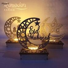 Decoraciones de Ramadán Eid Mubarak para el hogar Luna luces tipo vela de LED placa de madera colgante Islam musulmán evento Fiesta suministros